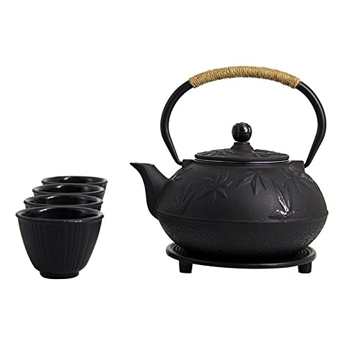 ISINO Cast Iron Teapot Set , Japanese 27 Oz Tetsubin Iron Teapot Kettle ,2.5 Ounce Cast Iron Teacup Set with Trivet and Stainless Steel Strainer
