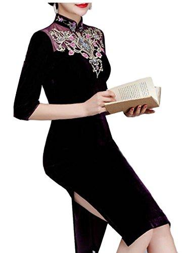 Jaycargogo Womens Impression Manches Courtes Robes Qipao Chinois Cheongsam Violet