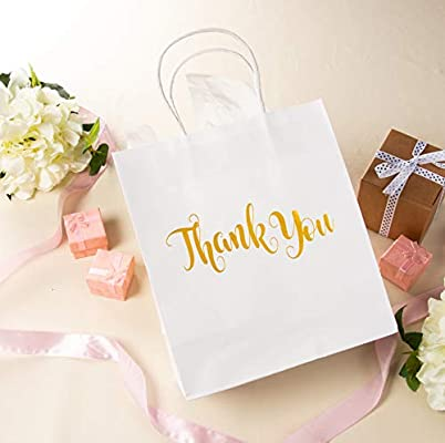 Includes 20 Sheets Tissue Wrapping Paper 15-Pack Small White Paper Gift Bags with Shiny Gold Foil Thank You Bags 8 x 4 x 8.8 Inches