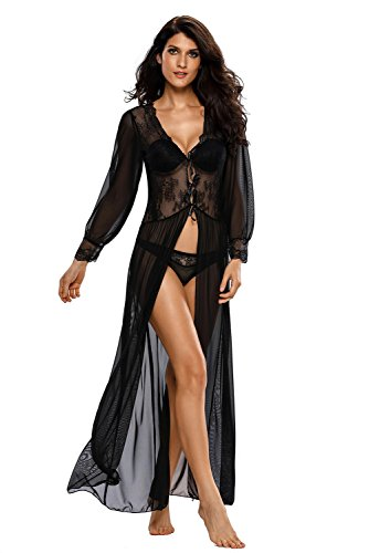 LittleLittleSky Womens Sheer Long Sleeve Lace Robe Gown Long Dress with Thong ((US 6-10)M) Diva Gown