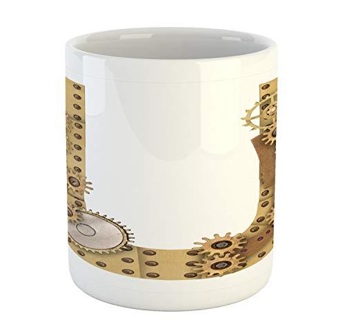 Ambesonne Letter U Mug, Dieselpunk Fantasy Mechanism with Plates U Font Structure Gearwheel Theme Print, Printed Ceramic Coffee Mug Water Tea Drinks Cup, Sand Brown
