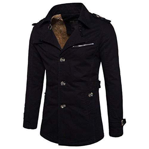 Coat Slim Trench Parka Thick Fit Men's Coat Huixin Outerwear Button Winter Jacket Schwarz Casual Apparel Coat Lapel YIwStRx