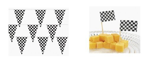 500 Ft Checkered Flag Banner Pennant Car Racing Party (5 packs) by Fun Express (Image #2)
