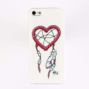 CECT STOCK Modelo del corazón de la pluma del estuche rígido para el iPhone 5/5S Porlycarbonate , Multicolor