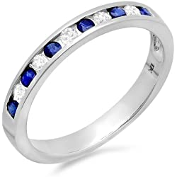 10K Gold Round White Diamond & Blue Sapphire Ladies Anniversary Wedding Stackable Ring Band 1/2 CT