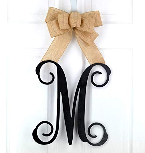 Birthday Gift for Mom | Monogram Gift | Wood Letter Initial Door Hanger Wreath - LOTS OF COLORS ()
