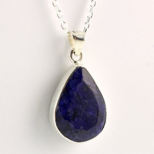 Sterling Silver Genuine Faceted Teardrop Blue Sapphire September Birthstone Handmade Pendant 16+2'' Chain - Zodiac Power Pendant