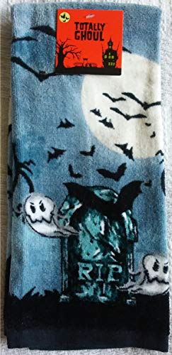 (T. G. Funworld Evil Jack O Lantern Halloween Kitchen Baking Towel RIP Ghosts Spooky Scary Fun Festive Design (RIP)