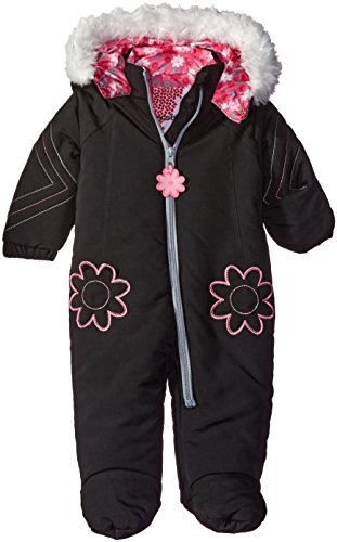 Kensie Baby Girls' Pram with Faux Fur Hood Trim, Black, 3-6 Months