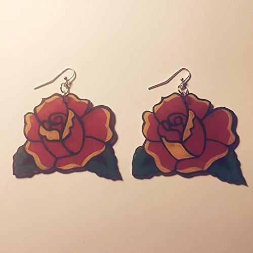 Amazon Com Traditional Rose Tattoo Hand Drawn Shrink Plastic