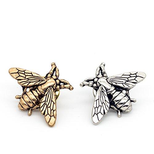 COLORFUL BLING 2 PCS Bees Brooch Small bee Vintage Cute Animal Brooch pins Men Women - (Fall Brooch Pin)