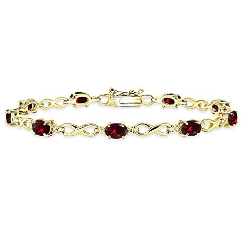 (Yellow Gold Flashed Sterling Silver Created Ruby Oval Polished Infinity Classic Tennis Bracelet)