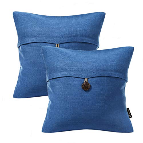 (Phantoscope Set of 2 Blue Button Linen Decorative Throw Pillow Case Cushion Cover 20