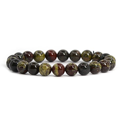 - Natural Dragon Blood Jasper Gemstone 8mm Round Beads Stretch Bracelet 7
