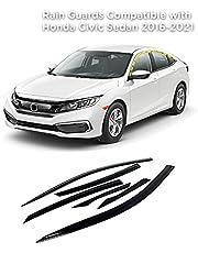 Rain Guards for Honda Civic Sedan 2016-2021 (6PCs) Smoke Tinted Tape-On Style