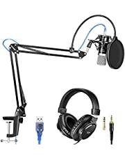 Neewer USB Microphone with Suspension Scissor Arm Stand, Shock Mount, Monitor Headphone, Pop Filter, USB Cable and Table Mounting Clamp Kit for Sound Recording for Windows and Mac(Black/Silver)