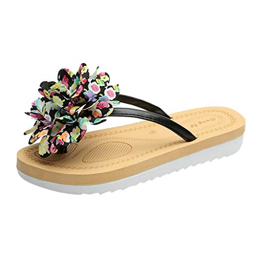 (Cenglings Summer Women's Flower Flip-Flops Slippers Casual Flat Slip On Clip Toe Ladies' Shoes Platform Beach Slippers Black)