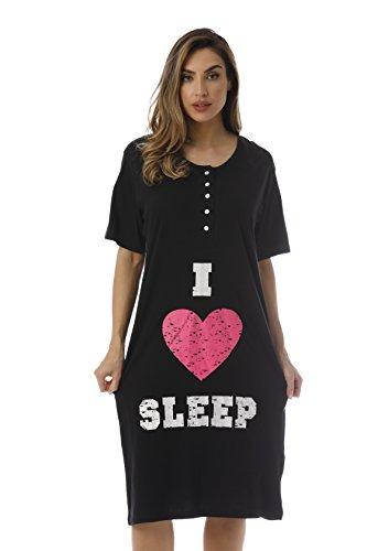 (4361-110-1X Just Love Short Sleeve Nightgown / Sleep Dress for Women / Sleepwea,Black - I Heart Slee,1X Plus)
