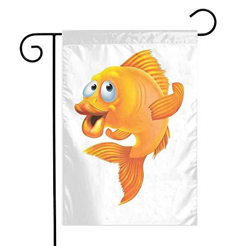 Mannwarehouse Fish Garden Flag Cartoon Character Happy Goldfish Smiling and Waving on White Background Illustration Premium Material W12 x L18 Orange White