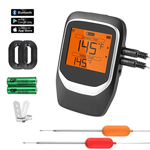 COMLIFE Digital Meat Thermometer, Wireless Bluetooth BBQ Thermometer with 2 Stainless Steel Probes, Smart Cooking Thermometer with Large LCD Screen for Kitchen Oven Grill Smoker