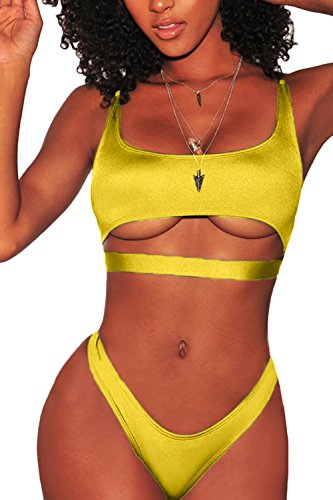 Fafofa Womens Sexy Bikini Outfit Low Scoop Neck Spaghetti Straps Cut Out Underboob Crop Top High Cut Cheeky Bottom 2Pcs Swimsuit Beachwear Yellow M