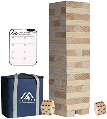 Megwoz Giant Tumble Tower Stacking Yard Game2 Dices|Scoreboard| Carrying Bag Premium Pine Wooden Block Game Set for Kids Adult Family- 56 Pieces (2Ft to Over 4.2Ft )