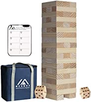 Megwoz Giant Tumble Tower, Stacking Yard Game with 2 Dices|Scoreboard| Carrying Bag, Premium Pine Wooden Block