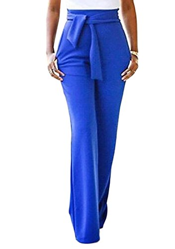 ZSN Womens Solid Yoga Palazzo Pocket Belted Loose Wide Leg Pants Blue US S
