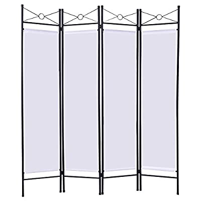 Giantex 4 Panel Room Divider Privacy Screen Home Office Fabric Metal Frame