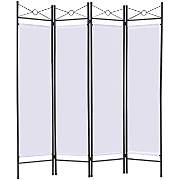 Giantex 4 Panel Room Divider Privacy Screen Home Office Fabric Metal Frame (White)