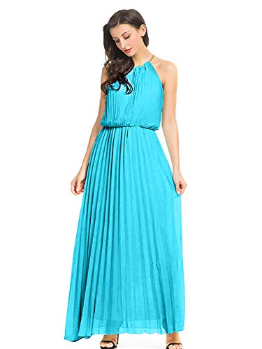 PERSUN Women's Casual Chiffon Cut Out Shoulder Pleated Party Maxi Dress (Medium, - Cut Prom Out Dresses
