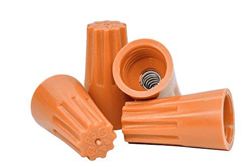 - Orange Wire Connectors Bulk Bag of 500 - UL Listed Twist-On P3 Type Easy Screw On Cap