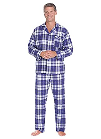 Men's Flannel Pajamas, Blue, Size Small