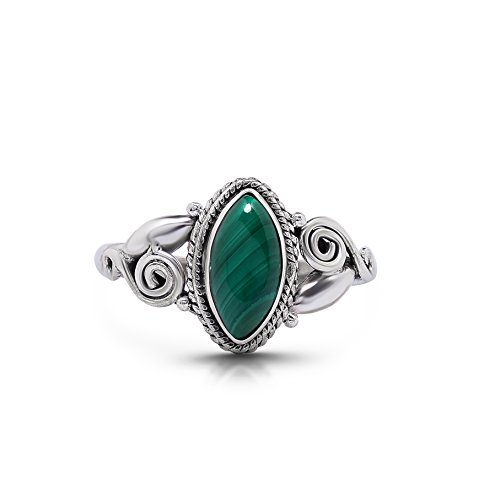 - Koral Jewelry Malachite Vintage Gipsy Spiral Side Small Ring 925 Sterling Silver Boho Chic US Size 5 6 7 8 9 (8.5)