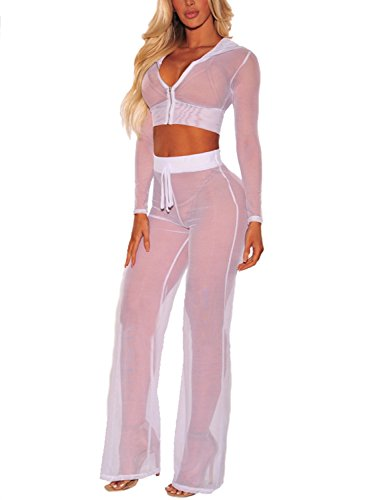 Women See Through Sheer Mesh Hoodie Crop Tops and Legging Pants Sexy 2pcs Bikini Swimsuit Cover-ups Beach Outfits(White, M)
