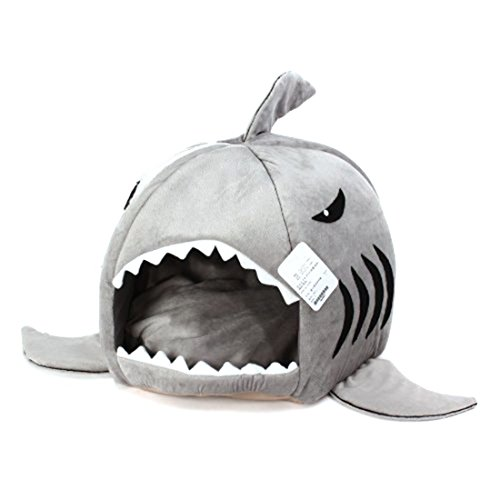 spexpet Grey Shark Bed for Small Cat Dog Cave Bed Removable Cushion,waterproof Bottom Most Lovely Pet House Gift for Pet