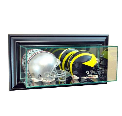 - Perfect Cases NFL Wall Mounted Double Mini Helmet Glass Display Case, Black