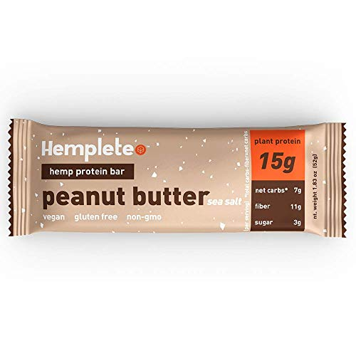 (Hemp Protein Bar by Hemplete - Peanut Butter, Vegan Whole Food Based, 1.83 Oz. (Box of 12) Paleo, Low Carb Friendly Snack With Healthy Fats)