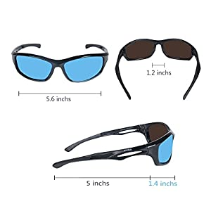 AVIMA BEST Unisex Polarized Tr90 Unbreakable Frame Sports Sunglasses for Running Baseball Cycling Fishing Volleyball Driving Skiing Golf Traveling (Black/Black With REVO Blue Lens)