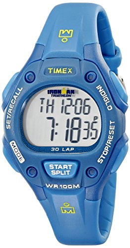 Timex Women's T5K7579J Ironman Traditional 30-Lap Teal Resin Strap - Ironman Logo Triathlon