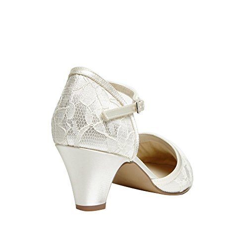 Paradox London Pink Round Toe Satin and Lace Adore Weddin Shoes Ivory ytQ9uf