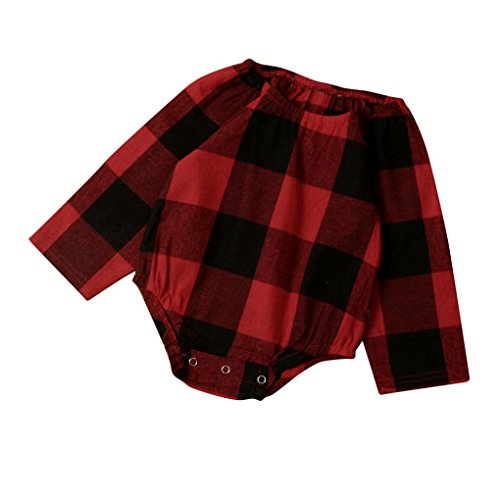8cf8f6396f4c UMFun Newborn Infant Baby Girl Boy Plaid Romper Jumpsuit Clothes Outfit