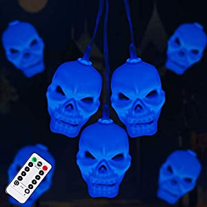 Halloween Skull String Lights, 30LEDs Spooky Lights Battery Operated, Halloween Lights Decorations Perfect for Halloween…
