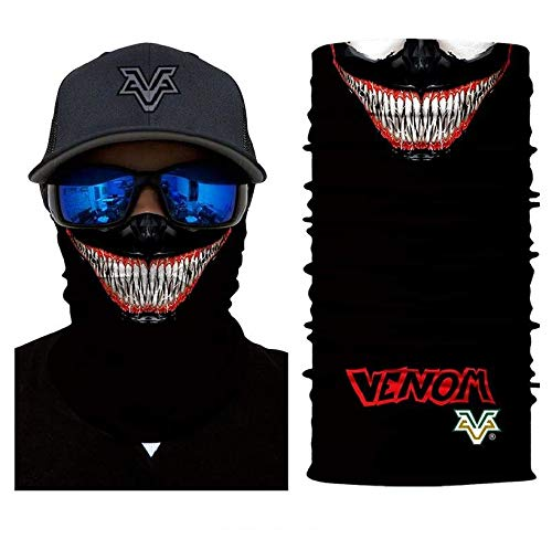 3D Mr. Venom Face Tube Neck Face Scarf Lower Half Face Mask Motorcycle Bicycle Shield Sun Air Soft Outdoor Biker Riding Masks -