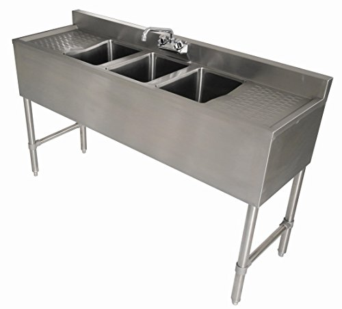 Compartment Stainless Steel Bar Sink - 3