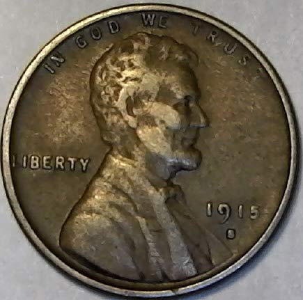 1915 S Lincoln Semi-Key Date Wheat Penny Cent Very Fine