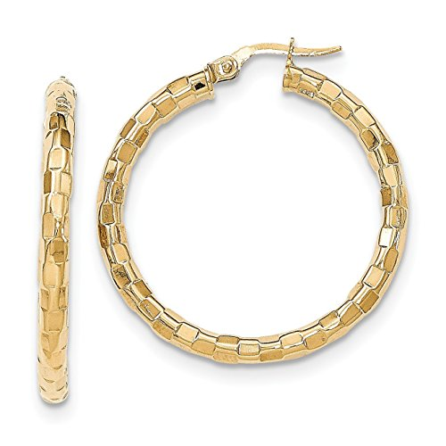 14K Yellow Gold Polished/Textured Post Hoop Earring - (1.3 in x 0.08 in) 14k Gold Textured Hoop Earrings