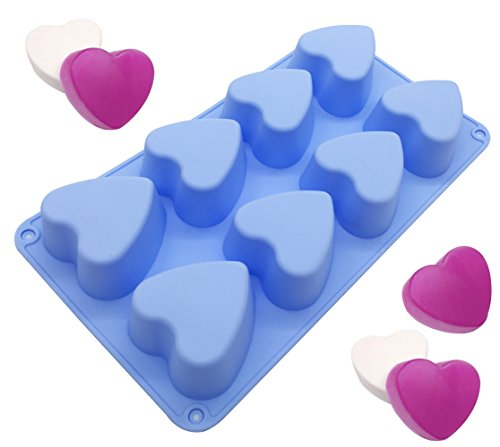 Love Gift 8 Heart Shape Cake Muffin Baking Silicone Mold Lotion Bars Soap Moulds