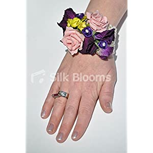 Royal Purple Sweetpea & Dusty Pink Roses w/ Pearls Wedding Ring Corsage 14
