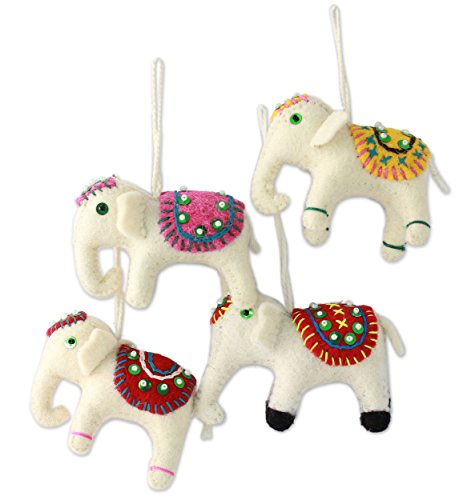 Hand Embroidered Beaded White Wool Indian Elephant Holiday Ornaments